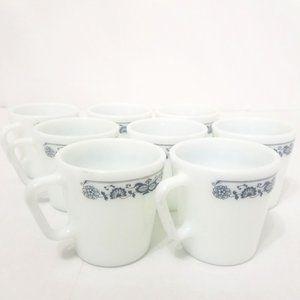 Pyrex Corelle Mugs Set of 8 - Old Town Blue